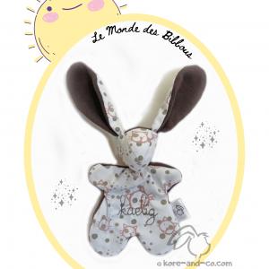 Doudou lapin tissu fait main original et unique .