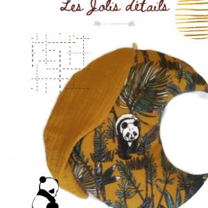 Lune à suspendre en tissu avec bonnet de nuit, motif jungle avec panda. Original fait mains en France.