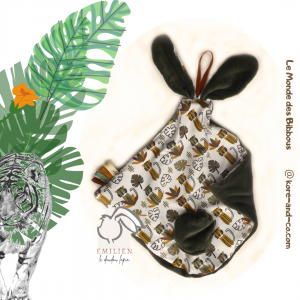 Doudou lapin EMILIEN motif jungle vert et blanc, unique et original.Fait main