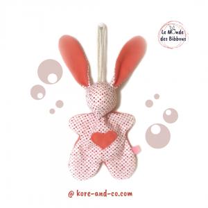 """Lapin de décoration""""Minibbou"""" à pois , rose  Original, fait main."""