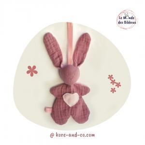 """Lapin de décoration""""Minibbou"""" rose et coton motif étoiles. original, fait main français."""