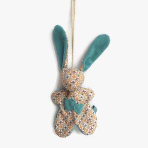 """Lapin de décoration""""Minibbou"""" bleu turquoise et coton multicolore. Original, fait main."""